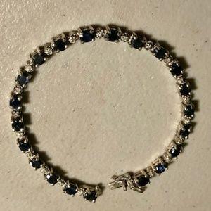 Jewelry - Sterling Silver Sapphire & Diamond Bracelet.